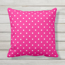 Hot Pink Outdoor Pillows - Polka Dot