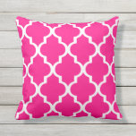 "Hot Pink Outdoor Pillows Quatrefoil Lattice<br><div class=""desc"">Hot Pink trellis pattern garden or patio pillow. Made in the USA. UV and mildew resistant outdoor pillows with a Moroccan quatrefoil ogee design in bright summer colors. Available in 16 or 20 inch square and 13&quot; by 21&quot; rectangular sizes. Insert included. (Also available as an interior couch or sofa...</div>"