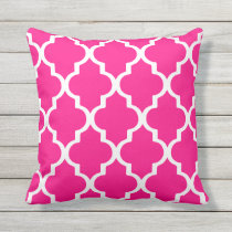 Hot Pink Outdoor Pillows Quatrefoil Lattice