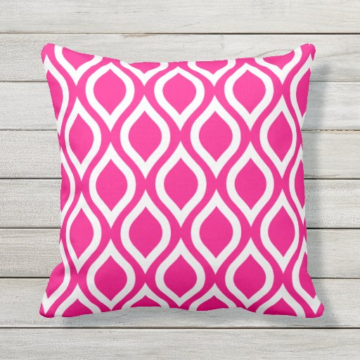 hot pink outdoor pillows tile pattern zazzle. Black Bedroom Furniture Sets. Home Design Ideas