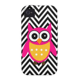 Hot Pink Owl Black Chevron iPhone 4 Case