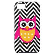 Hot Pink Owl Black Chevron iPhone 5 Case