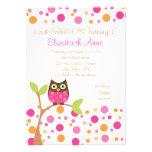 Hot Pink Owl Custom Invitations