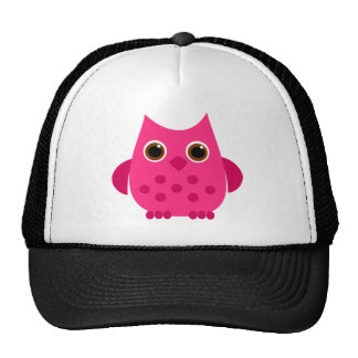 Hot Pink Owl Mesh Hats
