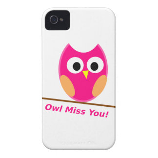 HOT PINK OWL MISS YOU CARTOON GRAPHIC EXPRESSIONS iPhone 4 COVERS