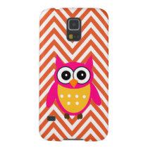 Hot Pink Owl Orange Chevron Pattern Galaxy S5 Cover