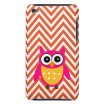 Hot Pink Owl Orange Chevron Pattern iPod Touch Case