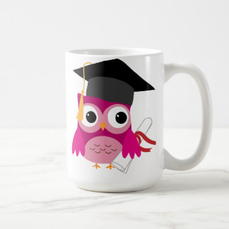 Hot Pink Owl with Diploma Graduation Mug