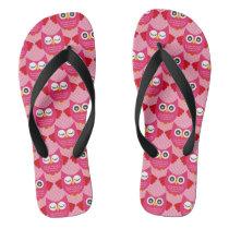 Hot Pink Owls Flip Flops