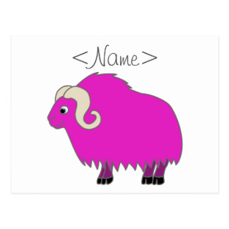 Hot Pink Ox with Curled Horns Postcard