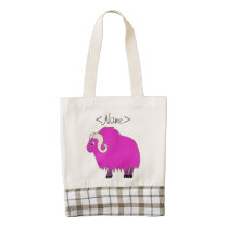 Hot Pink Ox with Curled Horns Zazzle HEART Tote Bag