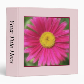 Hot Pink Painted Daisy 3 Ring Binder