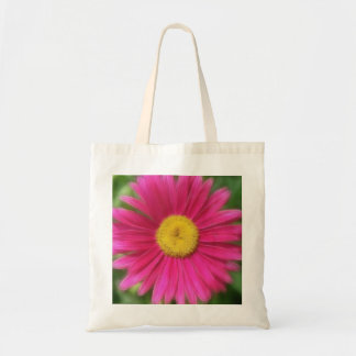 Hot Pink Painted Daisy Tote Bag