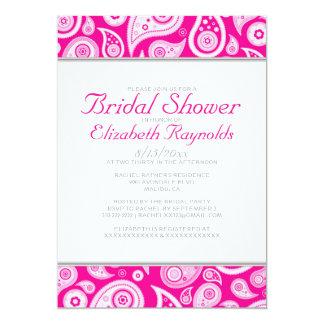 Hot Pink Paisley Bridal Shower Invitations