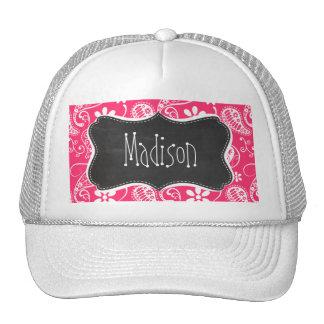 Hot Pink Paisley; Vintage Chalkboard Trucker Hat