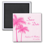 Hot Pink Palm Trees Tropical Save the Date Fridge Magnets