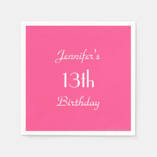 Hot Pink Paper Napkins, 13th Birthday Party Napkin