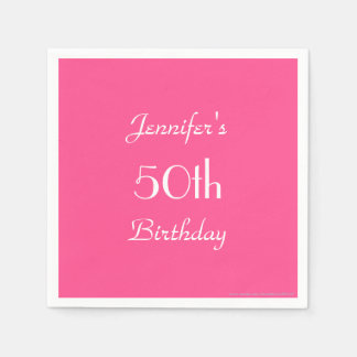 Hot Pink Paper Napkins, 50th Birthday Party Paper Napkin