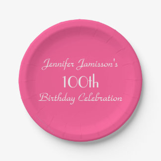 Hot Pink Paper Plates, 100th Birthday Party 7 Inch Paper Plate