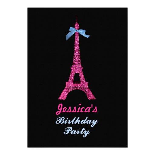 Hot Pink Paris Eiffel Tower Birthday Party Invite