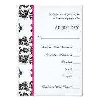 Hot Pink Parisian Eiffel Tower RSVP Wedding Card