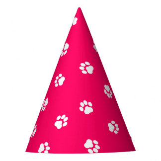 Hot Pink Party Hat with White Paw Prints