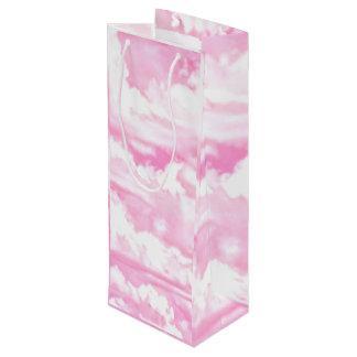Hot Pink Pastel Clouds Wine Gift Bag