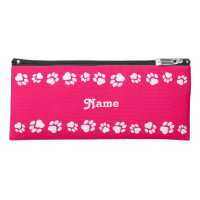 Hot Pink Paw Print Pencil Case