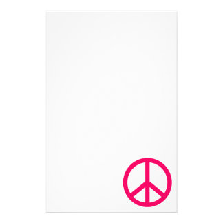 Hot Pink Peace & Ribbon Stationery