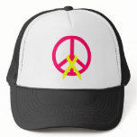 Hot Pink Peace & Ribbon Trucker Hat