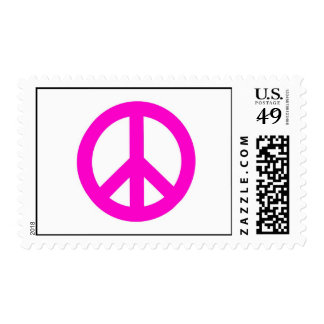 Hot Pink Peace Sign Postage Stamp