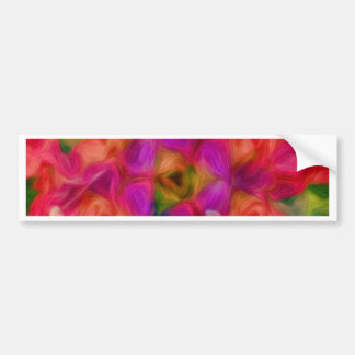 Hot Pink, Peach, and Lavender Floral Abstract Bumper Sticker
