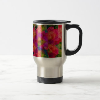 Hot Pink, Peach, and Lavender Floral Abstract Travel Mug