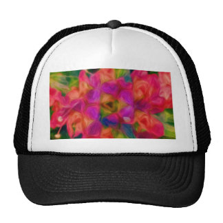 Hot Pink, Peach, and Lavender Floral Abstract Trucker Hat