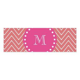 Hot Pink, Peach Chevron | Your Monogram Double-Sided Mini Business Cards (Pack Of 20)