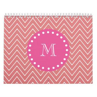 Hot Pink, Peach Chevron | Your Monogram Calendar