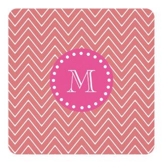 Hot Pink, Peach Chevron | Your Monogram Card
