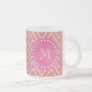 Hot Pink, Peach Chevron   Your Monogram Frosted Glass Coffee Mug