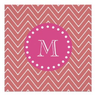 Hot Pink, Peach Chevron | Your Monogram Poster