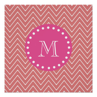 Hot Pink, Peach Chevron | Your Monogram Perfect Poster