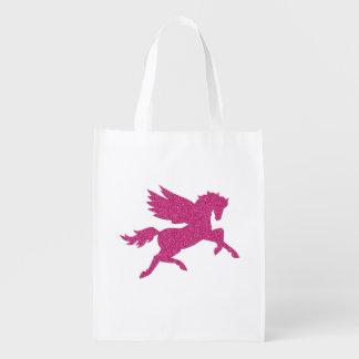 Hot Pink Pegasus Reusable Grocery Bags