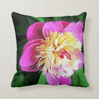 Hot Pink Peony Flower Throw Pillow