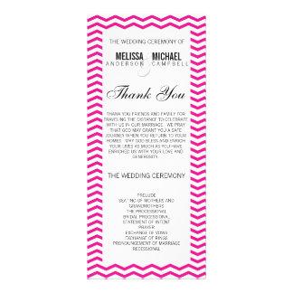 Hot Pink Perfect Chevron/Zig Zag Wedding Program Rack Card Template