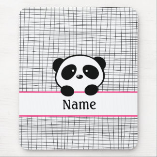 Hot Pink Personalized Panda Bear Mouse Pad