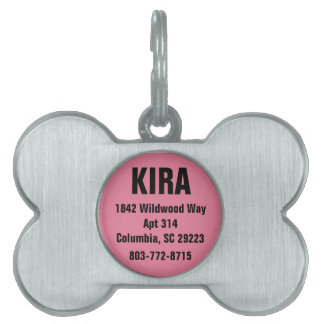 Hot Pink Personalized Pet ID Tag
