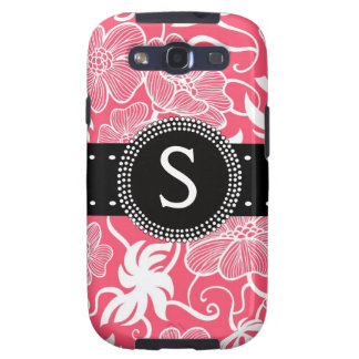 Hot Pink Personalized Tropical Flowery Pattern Galaxy SIII Cover
