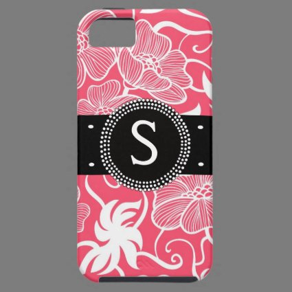 Hot Pink Personalized Tropical Flowery Pattern iPhone 5 Case