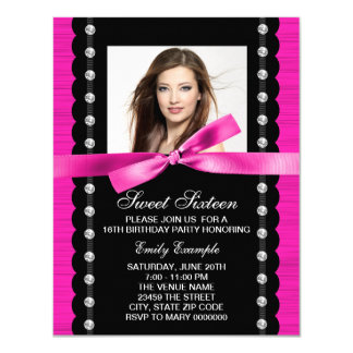 Hot Pink Photo Birthday Party Card