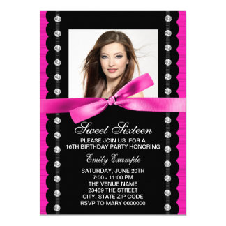 Hot Pink Photo Sweet 16 Birthday Party Card
