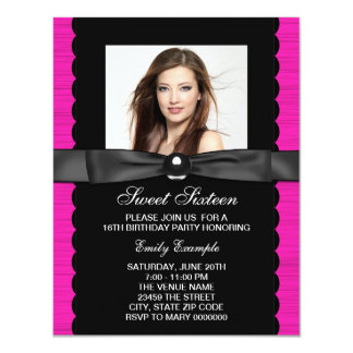 Hot Pink Photo Sweet 16 Birthday Party 4.25x5.5 Paper Invitation Card